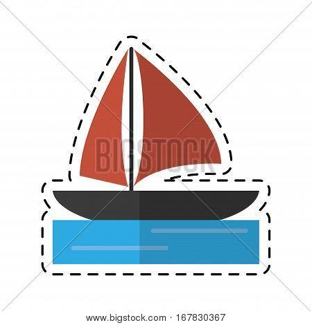 sailboat navigation water recreation cutting line vector illustration eps 10