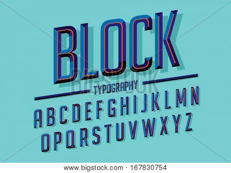 Vector of retro stylized bold font and alphabet