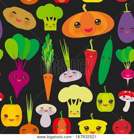 Seamless pattern Kawaii bell peppers pumpkin beets carrots eggplant red hot peppers cauliflower broccoli potatoes mushrooms cucumber onion garlic tomato radish black background. Vector illustration