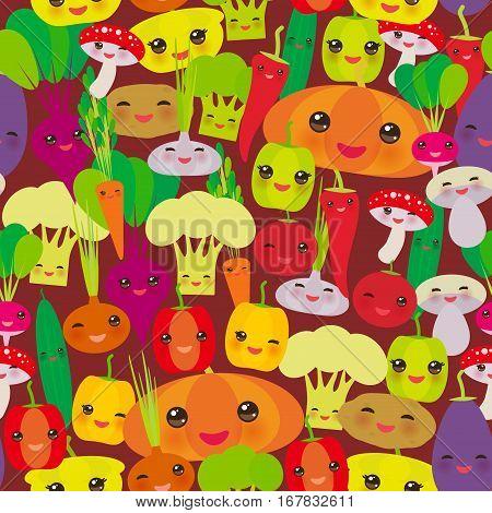 Seamless pattern Kawaii bell peppers pumpkin beets carrots eggplant red hot peppers cauliflower broccoli potatoes mushrooms cucumber onion garlic tomato radish brown background. Vector illustration