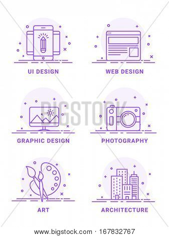 Flat illustration set of UI Design, Web Design, Graphic Design, Photography, Art and Architecture symbols.