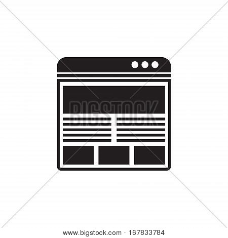 Vector icon or illustration showing web site with images and text content in one balck color
