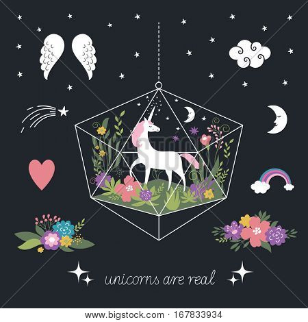 Decor elements, unicorns, flowers, fantasy illustrations