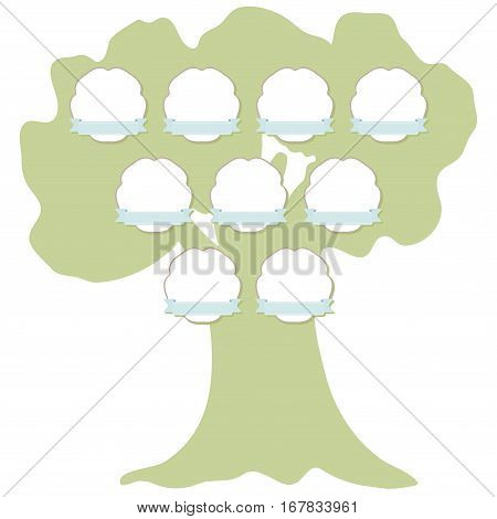 Hand drawn family tree with hanging labels. Green silhouette of the oak isolated on white background. Vector illustration