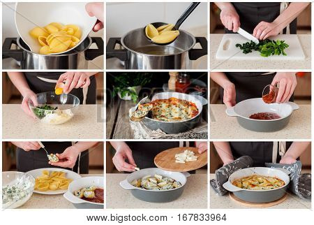 A Step By Step Collage Of Making Baked Stuffed Conchiglioni