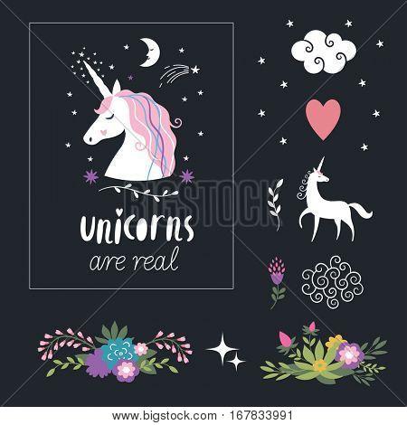 Decor elements, unicorns, flowers, fantasy illustrations