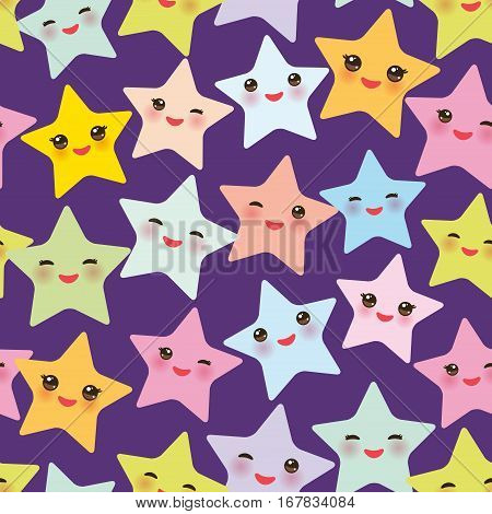 Seamless pattern Kawaii stars set face with eyes boys and girls pink green blue purple yellow pastel colors on purple background. Vector illustration
