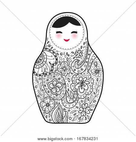 Russian doll matrioshka Babushka sketch smiling face with pink cheeks on white background. Vector illustration