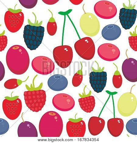 Cherry Strawberry Raspberry Blackberry Blueberry Cranberry Cowberry Goji Grape seamless pattern Fresh juicy berries on white background. Vector illustration
