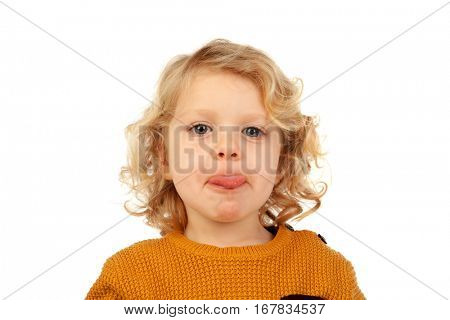 Portrait of playful small kid with long blond hair mockeries isolated on white background