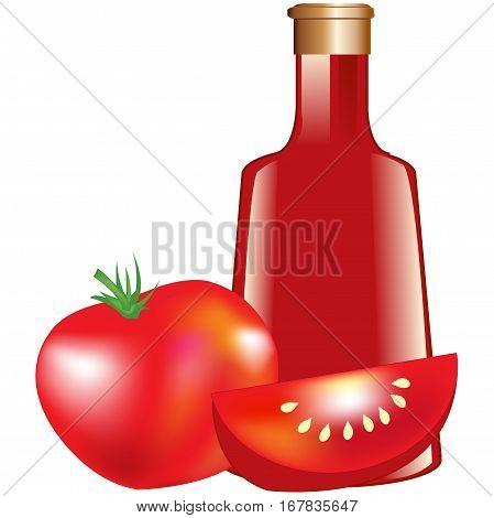 Bottle with tomato paste and ripe tomato