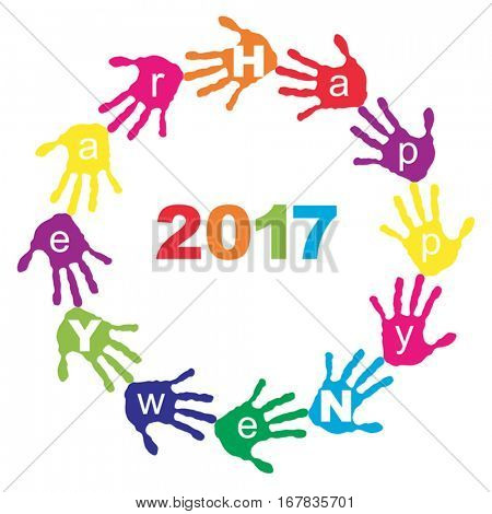 Vector concept or conceptual circle of colorful hand print or handprint text made by children for Happy New Year 2017 greeting isolated on white background for celebration, holiday, party or eve event