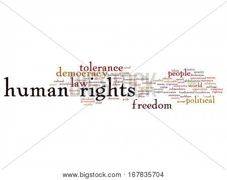 Vector concept or conceptual human rights political freedom or democracy abstract word cloud isolated on background  metaphor to humanity world tolerance, law principles, people justice discrimination