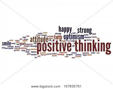 Vector concept conceptual positive thinking, happy or strong attitude abstract word cloud isolated on background metaphor to optimism, smile, faith, goals, courageous, goodness, happiness inspiration