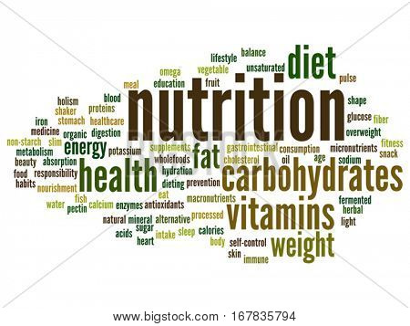 Vector concept or conceptual nutrition health or diet abstract word cloud isolated on background metaphor to carbohydrates, vitamins, fat, weight, energy, antioxidants beauty medicine, mineral protein