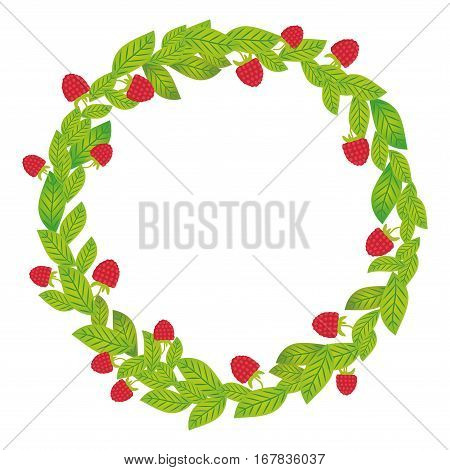 Round wreath with green leaves and raspberries Fresh juicy berries isolated on white background. Vector illustration