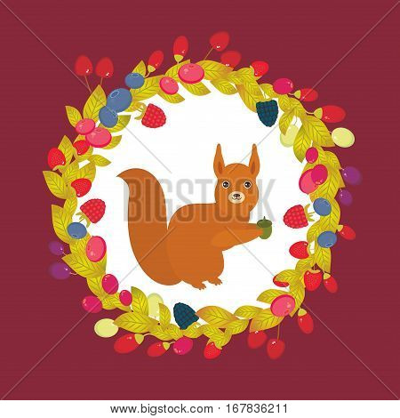 Round wreath with red squirrel with Cherry Strawberry Raspberry Blackberry Blueberry Cranberry Cowberry Goji Grapes on dark vinous background. Vector illustration