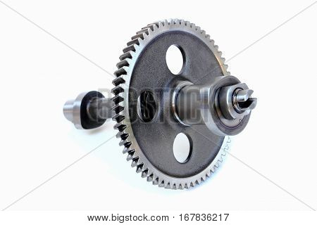 Close-up gear and shaft on white background