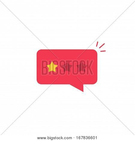 Bad review rating icon vector idea, flat style review stars with negative rate in red chat bubble speech, concept of testimonial message, notification alert, feedback evaluation, quality assessment