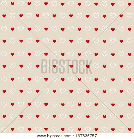 Seamless red and white hearts, Valentine's day card