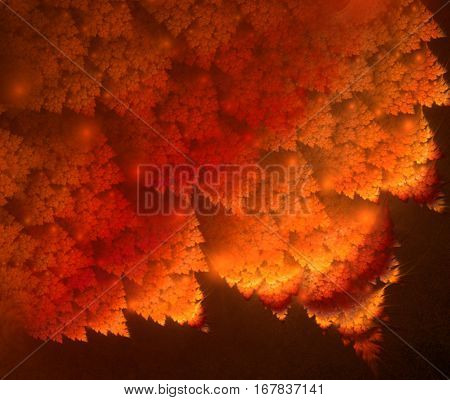 Orange leaves. Abstract background, fractal image syurreal. The background is made up of multi-colored fractal structure. Illustration of space geometry. Great idea for the creativity and design