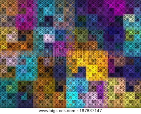 The mosaic pattern. Abstract background, fractal image syurreal. The background is made up of multi-colored fractal structure. Illustration of space geometry. Great idea for the creativity and design