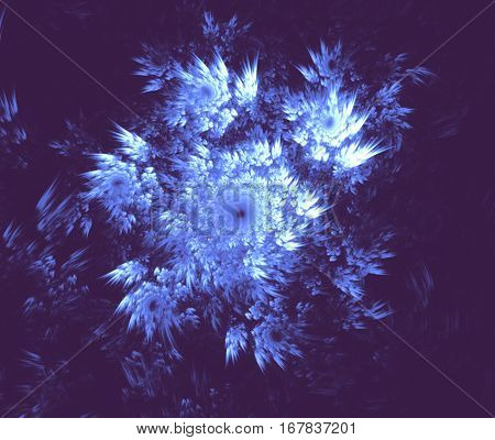 Blue snowflake on a blue background. Abstract background, fractal image syurreal. The background is made up of multi-colored fractal structure. Illustration of space geometry. Great idea for the creativity and design