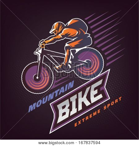 Mountain bike. Sport emblem on the dark background