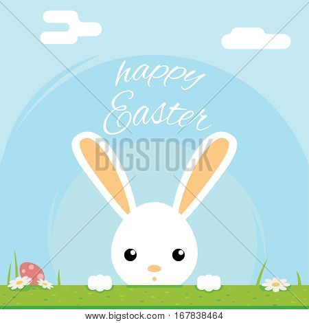 Easter bunny rabbit with egg icon sky background template flat mobile design vector illustration