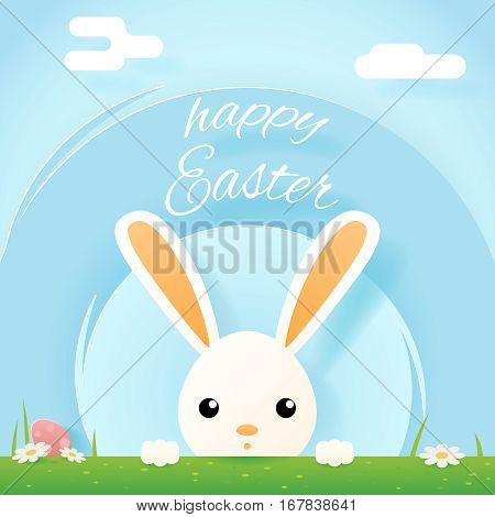 Easter bunny rabbit hole egg icon sky background template flat moble design vector illustration