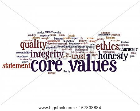 Vector conceptual core values integrity ethics abstract concept word cloud isolated on background metaphor to honesty, quality, trust statement, character, important, perseverance, respect trustworthy