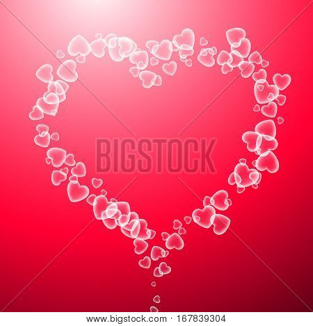 Pink Valentine's love background with heart of bubbles. Vector illustration.