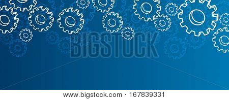 Blue settings banner with silhouettes of gears. Vector illustration.