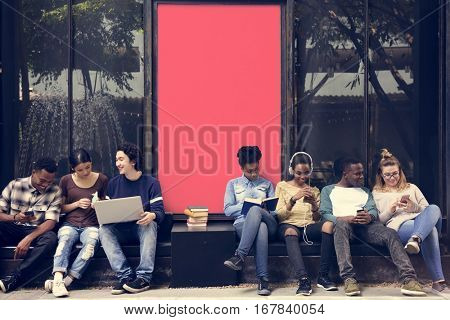 People Students Friendship Togetherness Technology