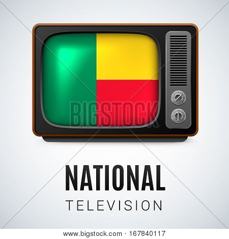 Vintage TV and Flag of Benin as Symbol National Television. Button with Beninese flag