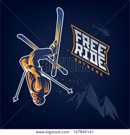 Free ride. Stunt headfirst of skier on the dark background