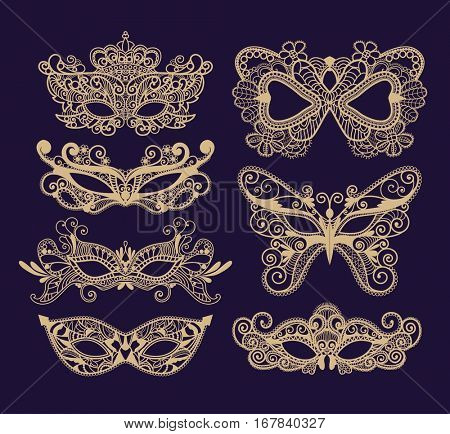 Mardi Gras Carnival mask of lace collection set. Mono line style. Vector Illustration Background.
