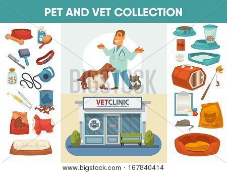 Veterinary medicine hospital, clinic or pet shop for animals design elements for pet feeding or care. Vet or veterinarian clinic. Healthcare or treatment for wild or domestic animals. Facade exterior