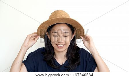 South East Asian Girl Wearing Casual Hat, Smile And Happy On White Background