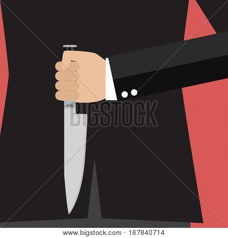 Businessman holding a knife behind his back. Business concept
