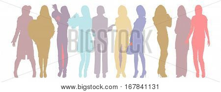 Many People Many Vector Silhouettes