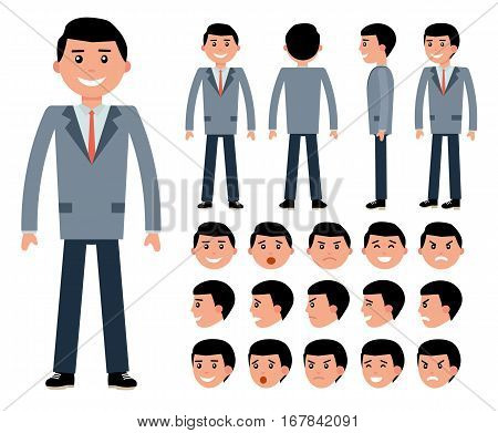 Male businessman character constructor for different poses. Set of various men's faces and emotions. Cartoon vector flat-style illustration