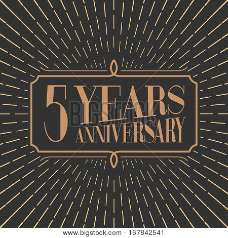 5 years anniversary vector icon logo. Gold color graphic design element for 5th anniversary birthday card