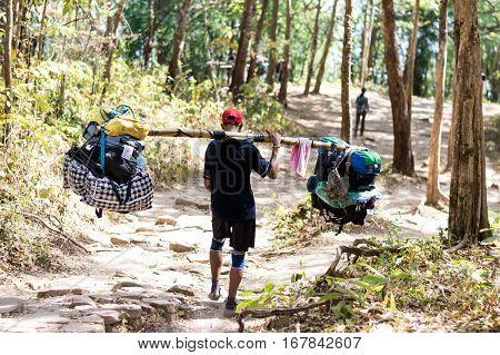 Strongest Man hired baggage on Phu Kradueng LoeiThailand.