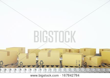 Packages delivery, packaging service and parcels transportation system concept, cardboard boxes on conveyor belt. 3d rendering