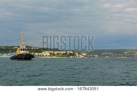 Sevastopol, Russia - June 09, 2016: Raid tug RB-365 in the Bay of Black Sea.