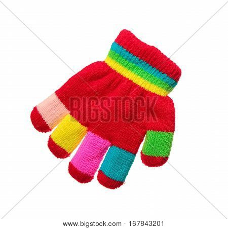 One multicolor striped glove on white background
