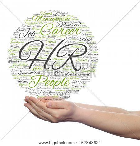 Concept conceptual hr or human resources management abstract word cloud in hand isolated on background metaphor to workplace, development, career, success, hiring, competence, goal, corporate or job