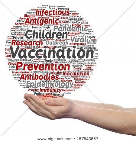Concept or conceptual children vaccination or viral prevention circle word cloud in hand isolated on background metaphor to infectious antigenic, antibodies, epidemiology, immunization or inoculation