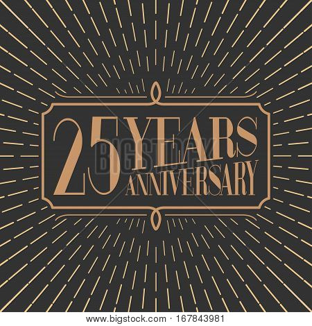 25 years anniversary vector icon logo. Gold color graphic design element for 25th anniversary birthday card